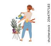 man watering potted houseplants.... | Shutterstock .eps vector #2064797183