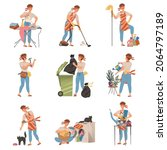 househusband doing daily... | Shutterstock .eps vector #2064797189