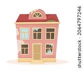 abandoned house with broken... | Shutterstock .eps vector #2064797246