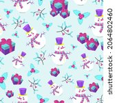 winter pattern with snowmen and ... | Shutterstock .eps vector #2064802460