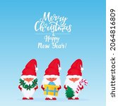 christmas gnomes. greeting card ... | Shutterstock .eps vector #2064816809