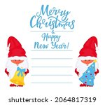 christmas gnomes. greeting card ... | Shutterstock .eps vector #2064817319