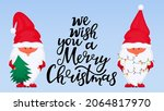 christmas gnomes. greeting card ... | Shutterstock .eps vector #2064817970