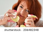 woman smiling with pink and... | Shutterstock . vector #206482348