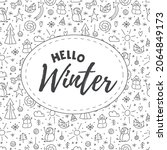 seamless pattern of doodle...   Shutterstock .eps vector #2064849173