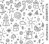 seamless pattern of doodle...   Shutterstock .eps vector #2064849176