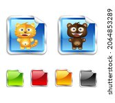 funny sticker with tiger and...   Shutterstock .eps vector #2064853289
