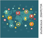 social network flat concept | Shutterstock .eps vector #206492734