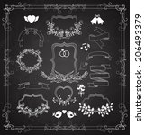 wedding vector graphic set with ... | Shutterstock .eps vector #206493379