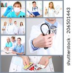 medical workers collage | Shutterstock . vector #206501443