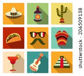 cactus,chichen,clip-art,cocktail,design,drink,enchiladas,ethnicity,fiesta,flat,food,glasses,graphic,green,guitar