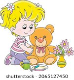 happy little girl playing with...   Shutterstock .eps vector #2065127450
