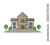 school illustrated on a white...   Shutterstock .eps vector #2065142156