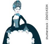 Beautiful young lady (Baroque, Marie Antoinette style) holding empty frame for your text, vector illustration