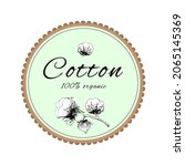 cotton plant  a twig is drawn...   Shutterstock .eps vector #2065145369