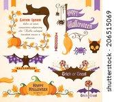 set of halloween decorative... | Shutterstock .eps vector #206515069