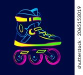 rolling skate neon art logo....   Shutterstock .eps vector #2065153019