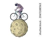 cartoon astronaut riding...   Shutterstock .eps vector #2065188563
