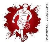 gaelic football player action...   Shutterstock .eps vector #2065192346