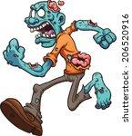 angry running zombie. vector... | Shutterstock .eps vector #206520916