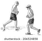 elderly men jogging | Shutterstock . vector #206524858