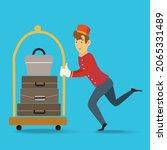 bellman pushing luggage cart... | Shutterstock .eps vector #2065331489
