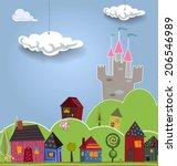 cartoon landscape with cute... | Shutterstock .eps vector #206546989