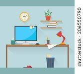 home workplace flat vector... | Shutterstock .eps vector #206550790