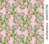 watercolor floral seamless... | Shutterstock . vector #206555740