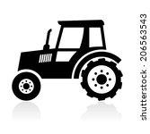 Tractor Icon  Black On White...