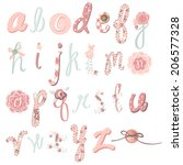 unique vector flower font.... | Shutterstock .eps vector #206577328