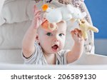 baby boy playing sitting in the ... | Shutterstock . vector #206589130