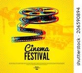 movie cinema festival poster.... | Shutterstock .eps vector #206590894