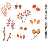 set of watercolor autumn... | Shutterstock .eps vector #206600530
