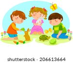 kids playing with animals | Shutterstock .eps vector #206613664