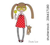 doodle character of a small... | Shutterstock .eps vector #206617180