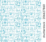 school theme seamless background | Shutterstock .eps vector #206627860