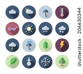 flat design icons for weather...