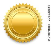 round golden medal with pattern ... | Shutterstock .eps vector #206630869