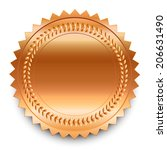 round bronze medal with pattern ... | Shutterstock .eps vector #206631490