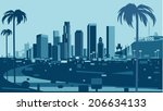 los angeles skyline | Shutterstock .eps vector #206634133