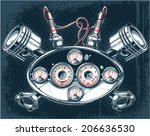 dashboard with pistons   spark... | Shutterstock .eps vector #206636530