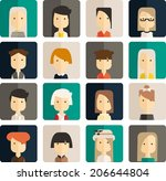 vector flat set avatar people | Shutterstock .eps vector #206644804
