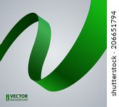 Green Fabric Curved Ribbon On...