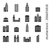 vector set of black buildings... | Shutterstock .eps vector #206651818