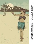 vintage hula girl dancing on... | Shutterstock .eps vector #206651824
