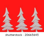 three silver trees on red background - stock photo