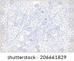 cogwheels technical drawing | Shutterstock .eps vector #206661829
