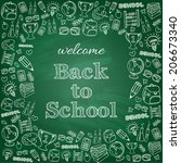 welcome back to school card.... | Shutterstock .eps vector #206673340