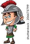 cute cartoon roman legionary .... | Shutterstock .eps vector #206673799